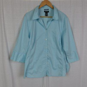 Avenue Stretch 3/4 Sleeve Button Front Shirt